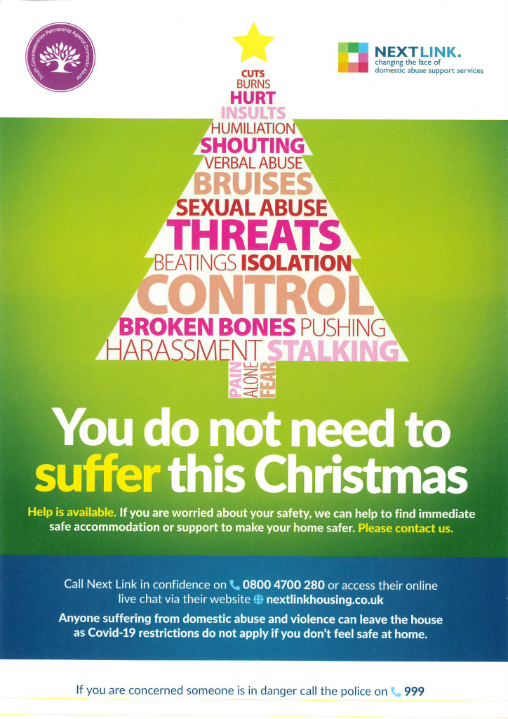 Poster on domestic abuse. Advice for the Christmas period.