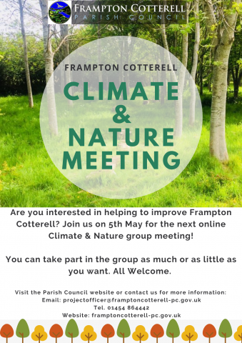 Poster for climate and nature working group. Image of centenary field trees behind text.